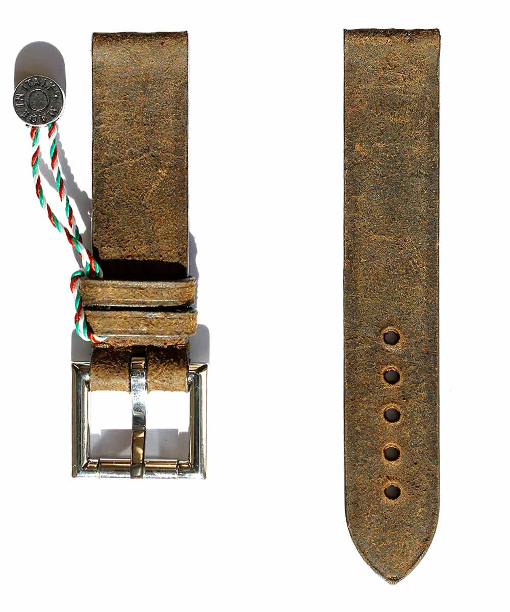 Strap 20mm in Brown Mohawk Vintage Leather with Fixed Buckle