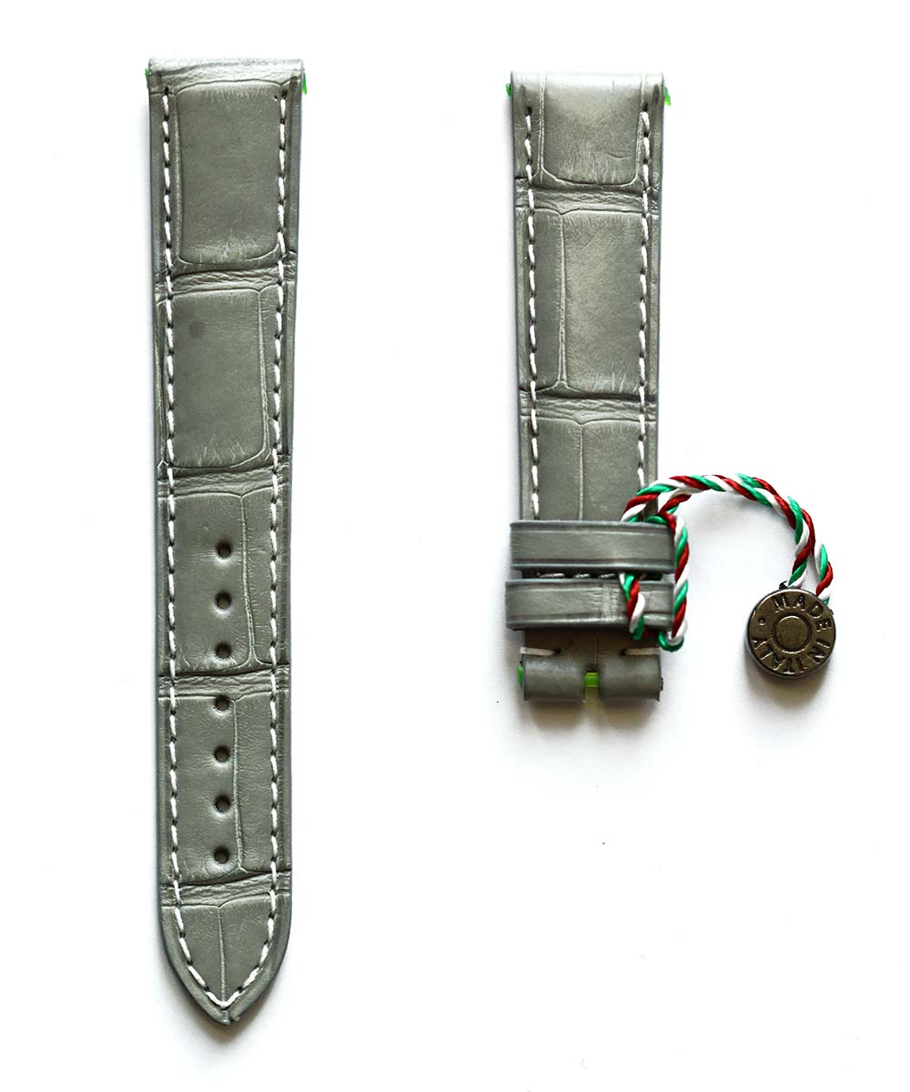 Grey Matte Alligator leather strap 20mm, 18mm / White stitching