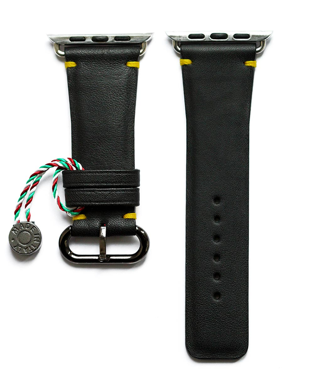 Strap 24mm in Black Napa leather for 44mm, 42mm case (Apple Watch All Series). Small wrist