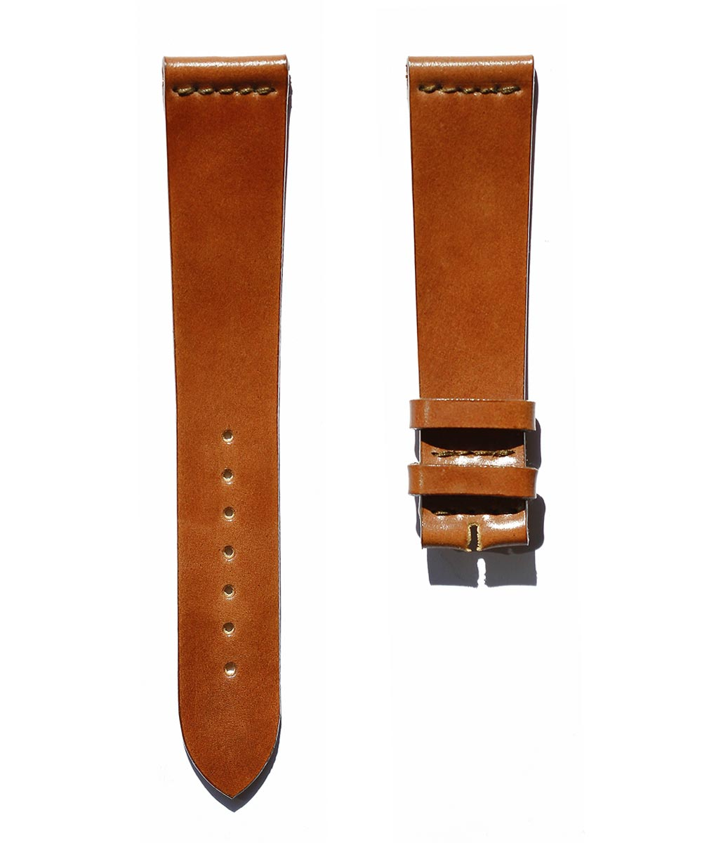 Ultra slim Strap in Cognac Horween Shell Cordovan Leather