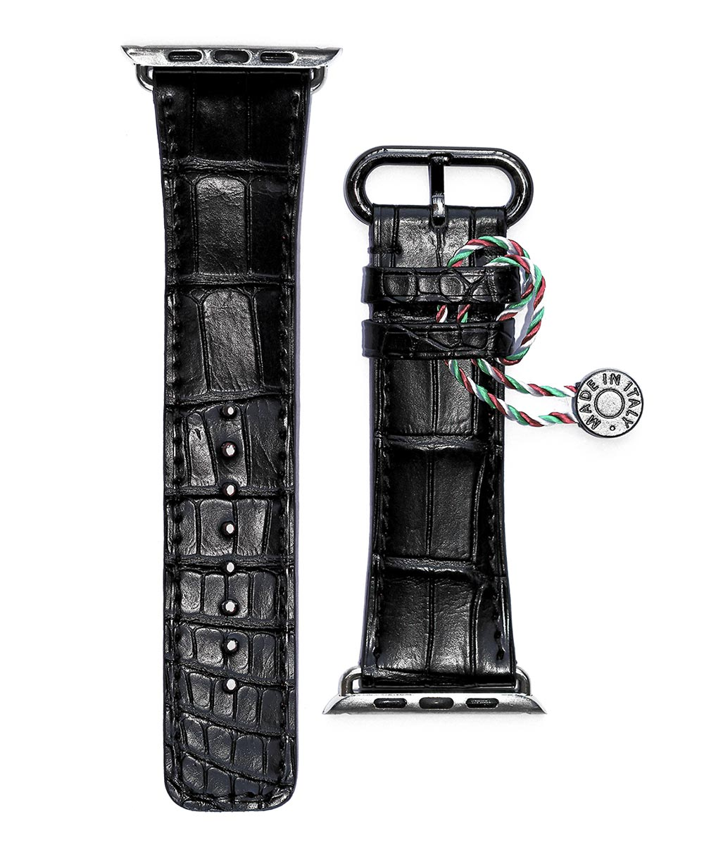Black Alligator Leather strap for Apple Watch 42mm (All generations)