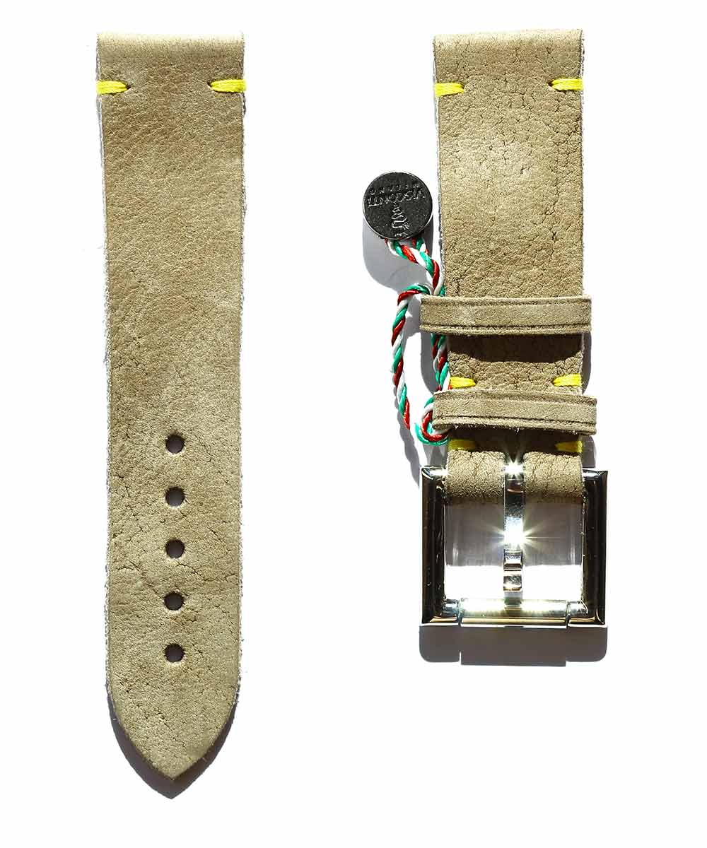 Beige Kudu Reverse Leather strap 22mm with Fixed Buckle