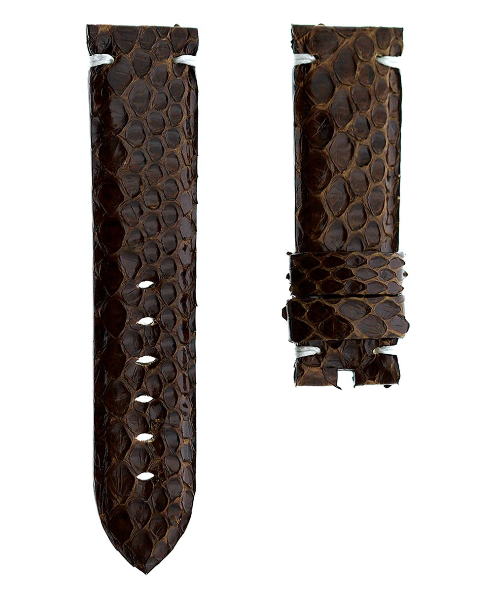 Exotic Original Python leather brown strap 24mm for Panerai. Alligator lining