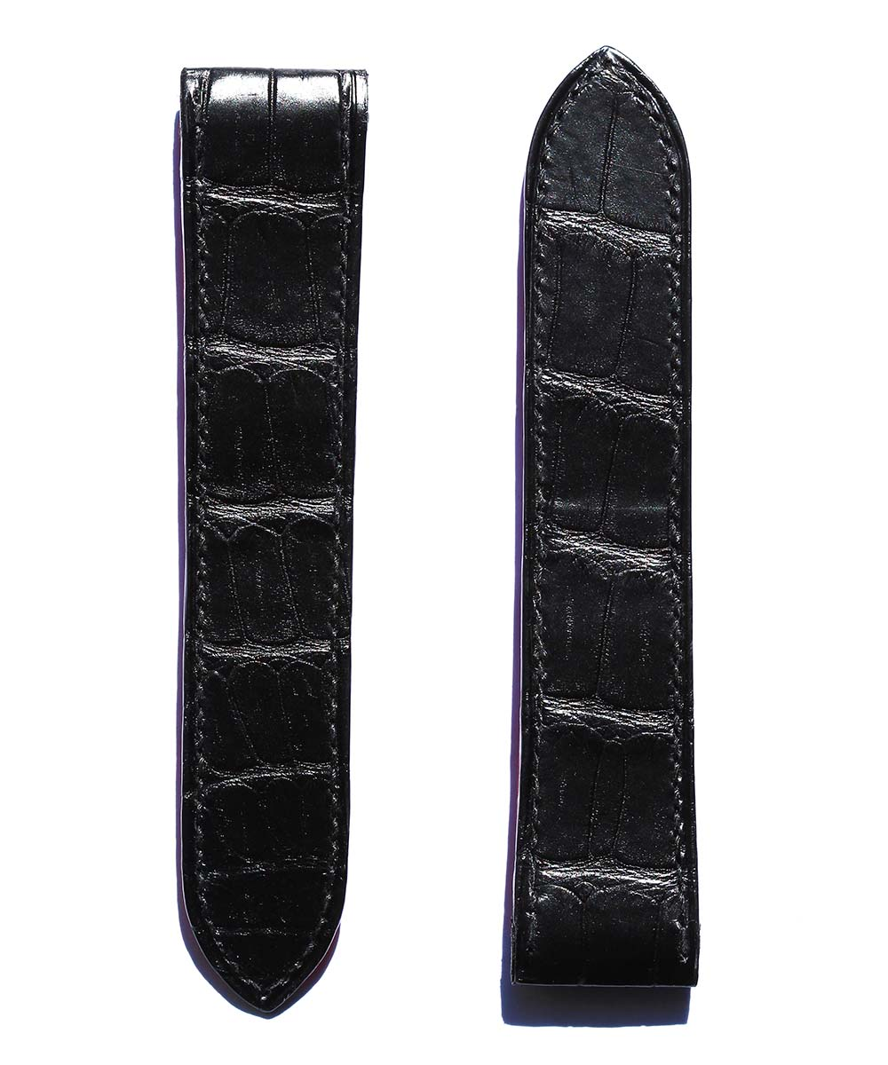Strap 23mm in Black Matte Alligator Leather for Cartier Santos 100