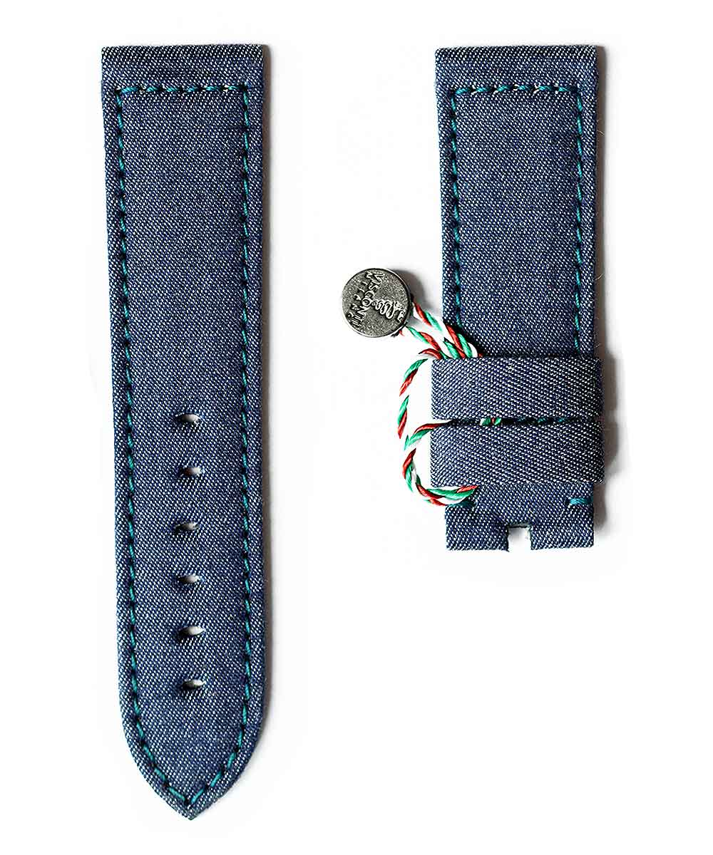 Blue Denim Panerai style strap 24mm / Indigo stitching