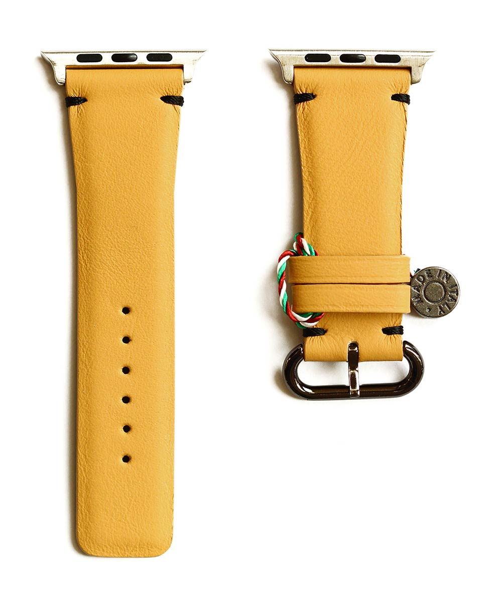 Beige Connolly Leather Strap for 44mm, 42mm case (Apple Watch Series 1, 2 & 3, 4). Small wrist