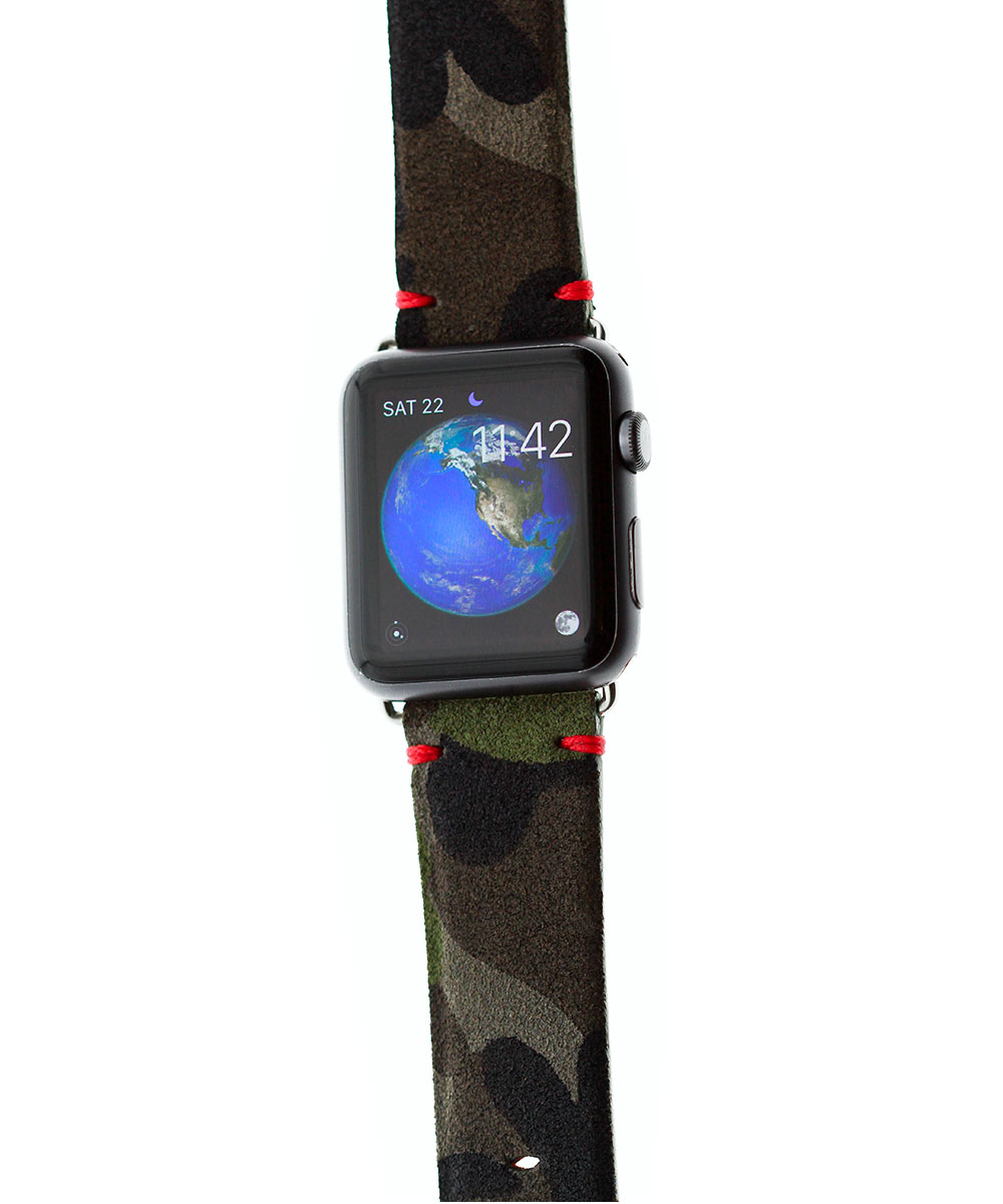 Camouflage / Mimetic Suede Apple Watch 44mm, 42mm band (All Series) Red Presile stitching
