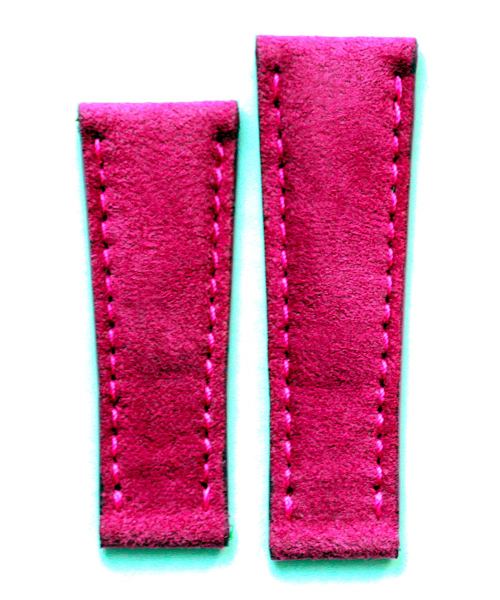 Fuchsia Rose Alcantara watch band 20mm for Rolex Daytona style timepieces