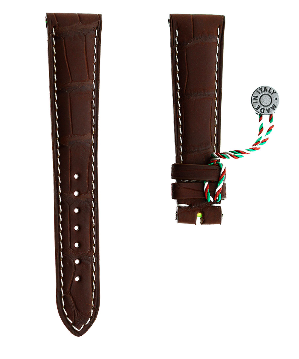 Brown Rubberized Alligator leather strap 20mm / White stitching
