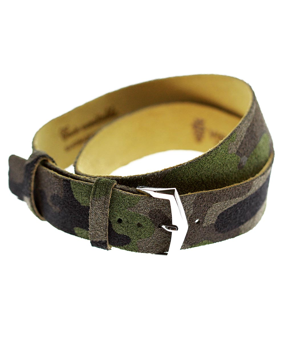 Exclusive Double tour wrist bracelet in Camouflage Suede leather