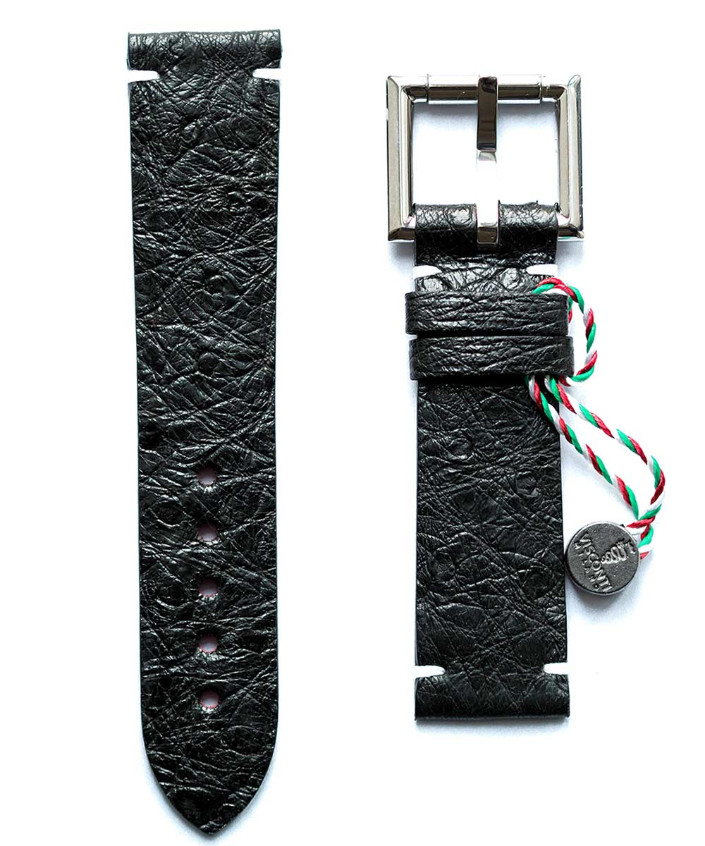 Black Ostrich leather strap 22mm with Fixed Buckle