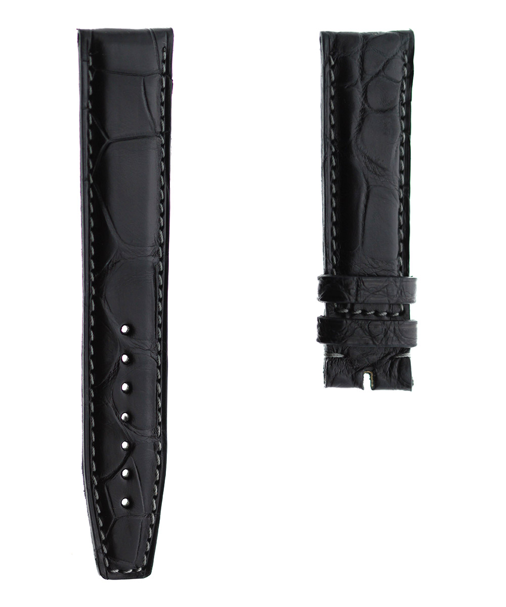 Black Alligator leather strap 20mm IWC Portuguese style. Grey Stitching