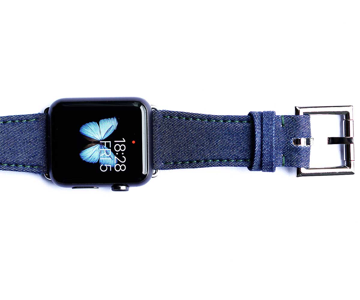 Japanese Denim Strap for Apple Watch 44mm, 42 mm with Fixed Buckle