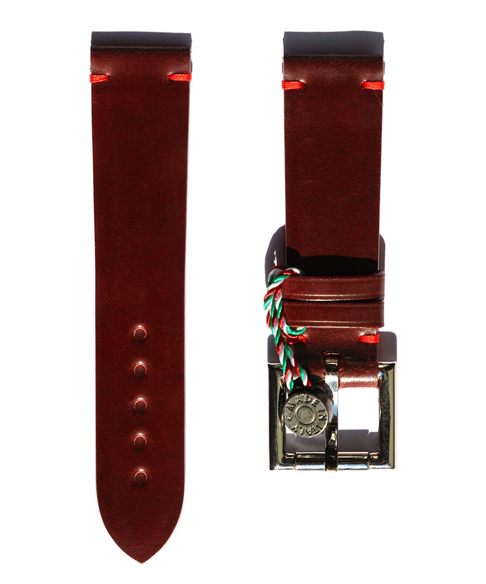 Strap 22mm in Bordeaux Shell Cordovan Leather with Fixed Buckle