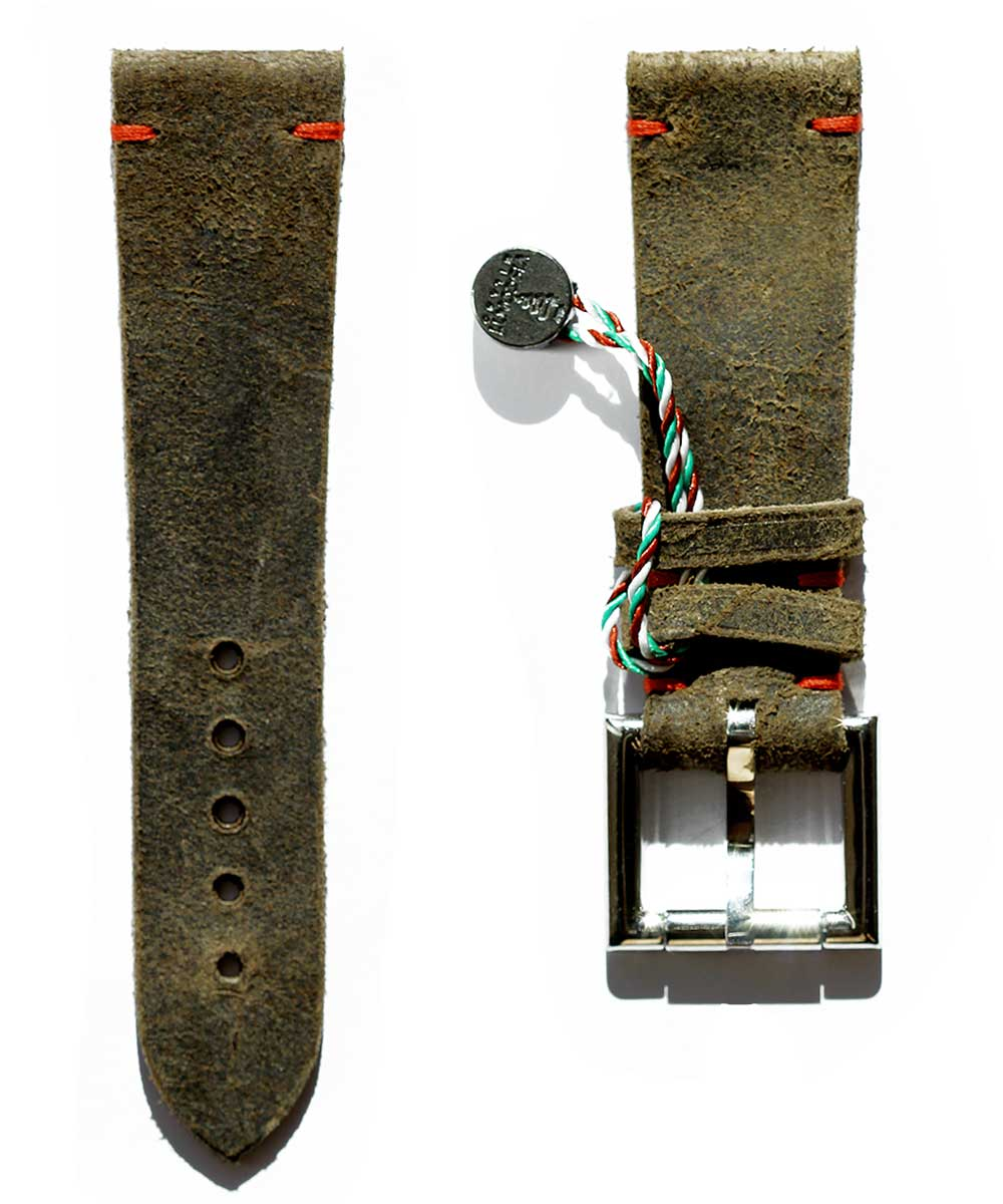Strap 24mm in Brown Mohawk Vintage Leather with Fixed Buckle