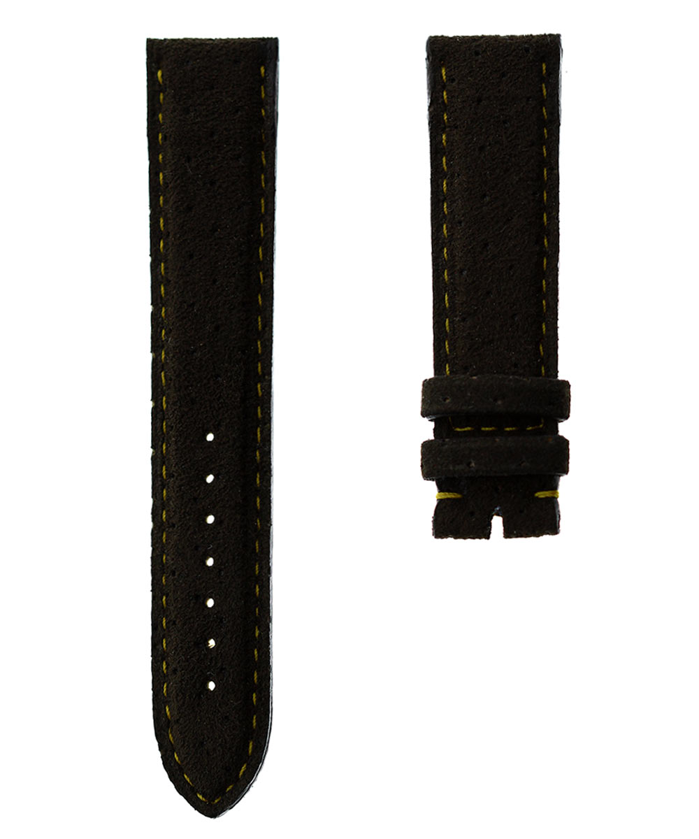 Brown perforated Alcantara® strap 20mm