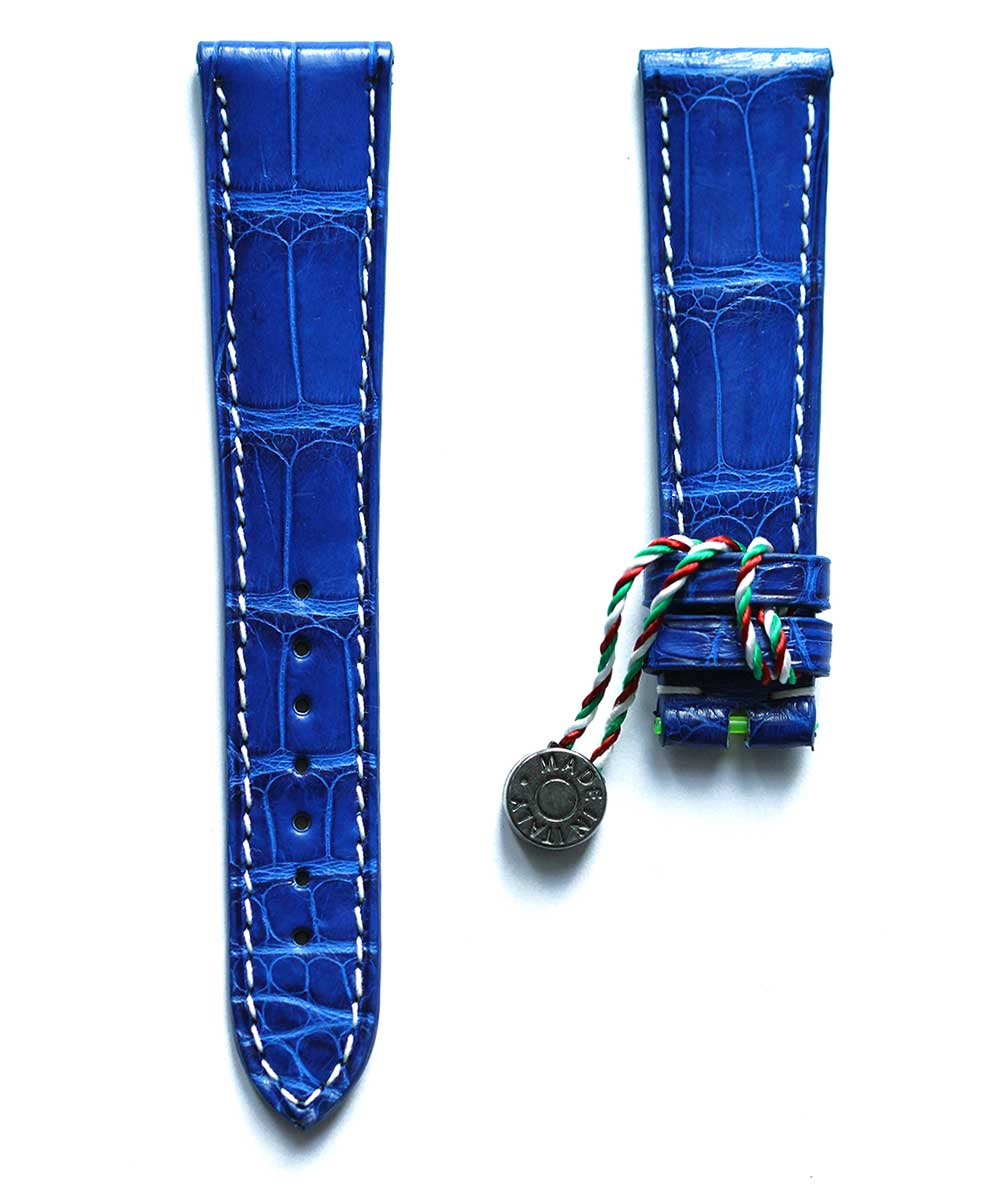 Electric Blue Alligator leather watch strap 20mm / White stitching