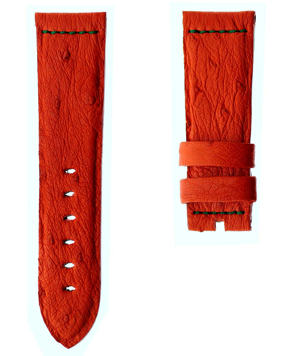 Red Ostrich leather strap 24mm Panerai style