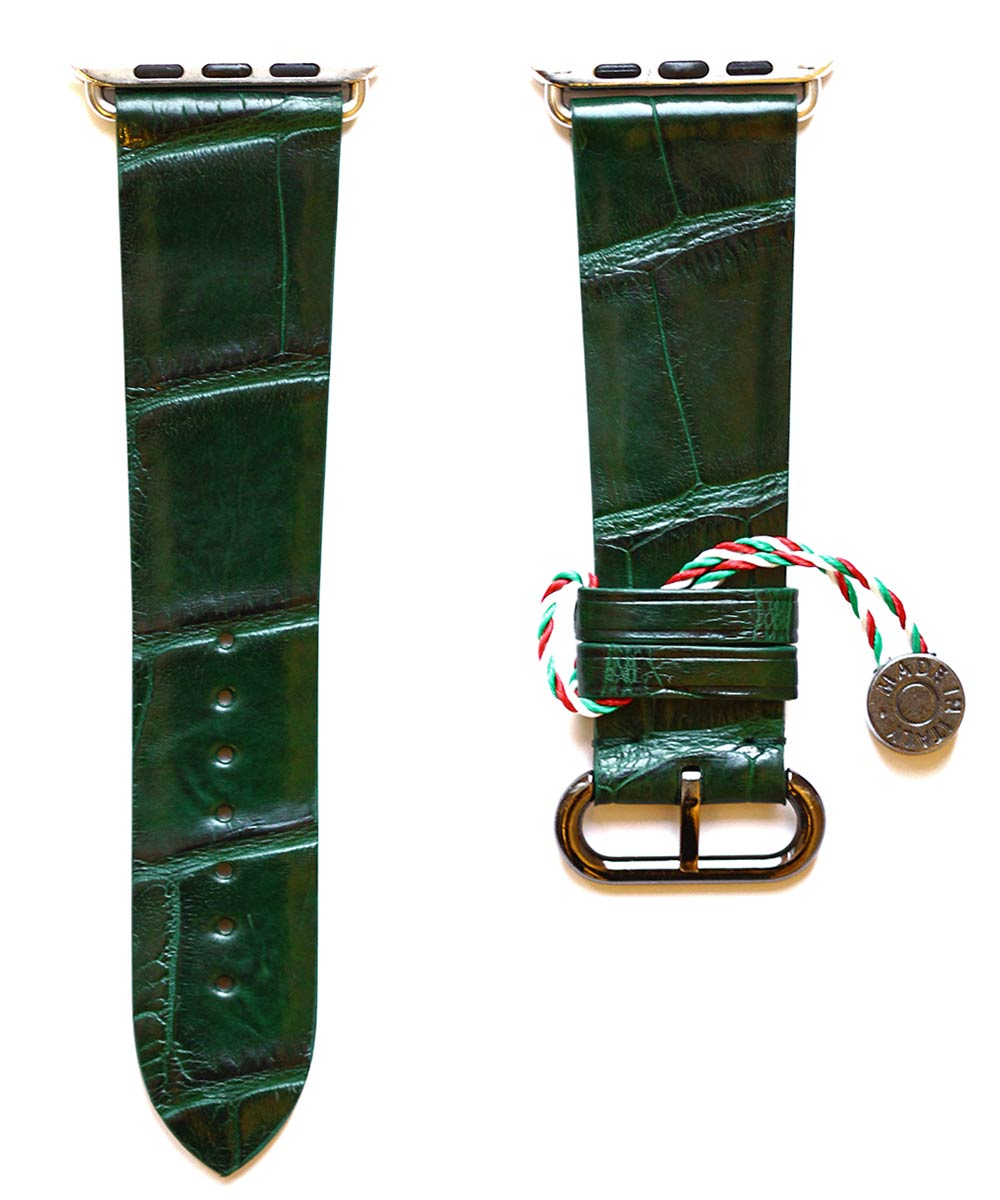 Emerald Green Matte Alligator Apple Watch Strap 44mm, 42mm