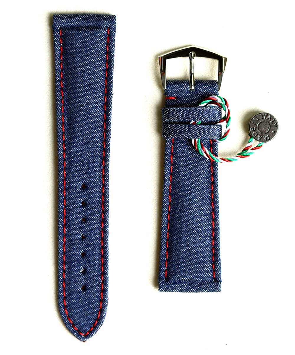 Denim strap General style 18mm, 22mm / Red Alcantara lining