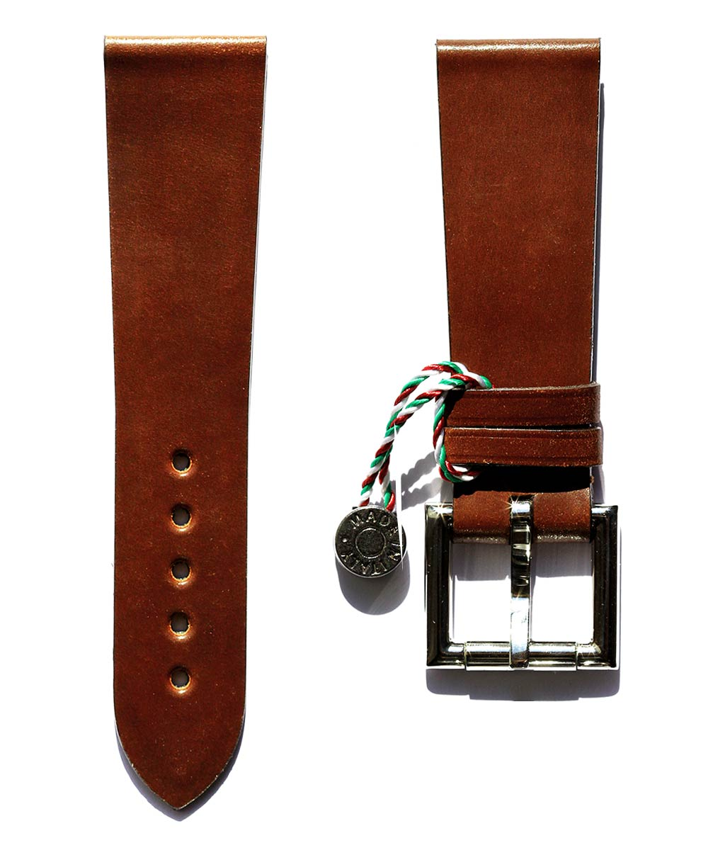 Strap 24mm in Brown Shell Cordovan Leather with Fixed Buckle. Can be used as Apple Watch 44mm, 42mm band