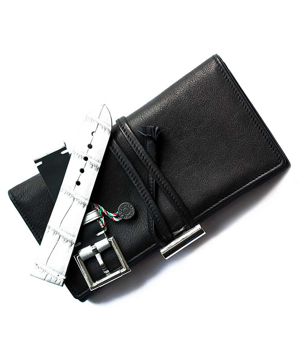 Pocket watch and straps holder / roll in Black Nappa Leather