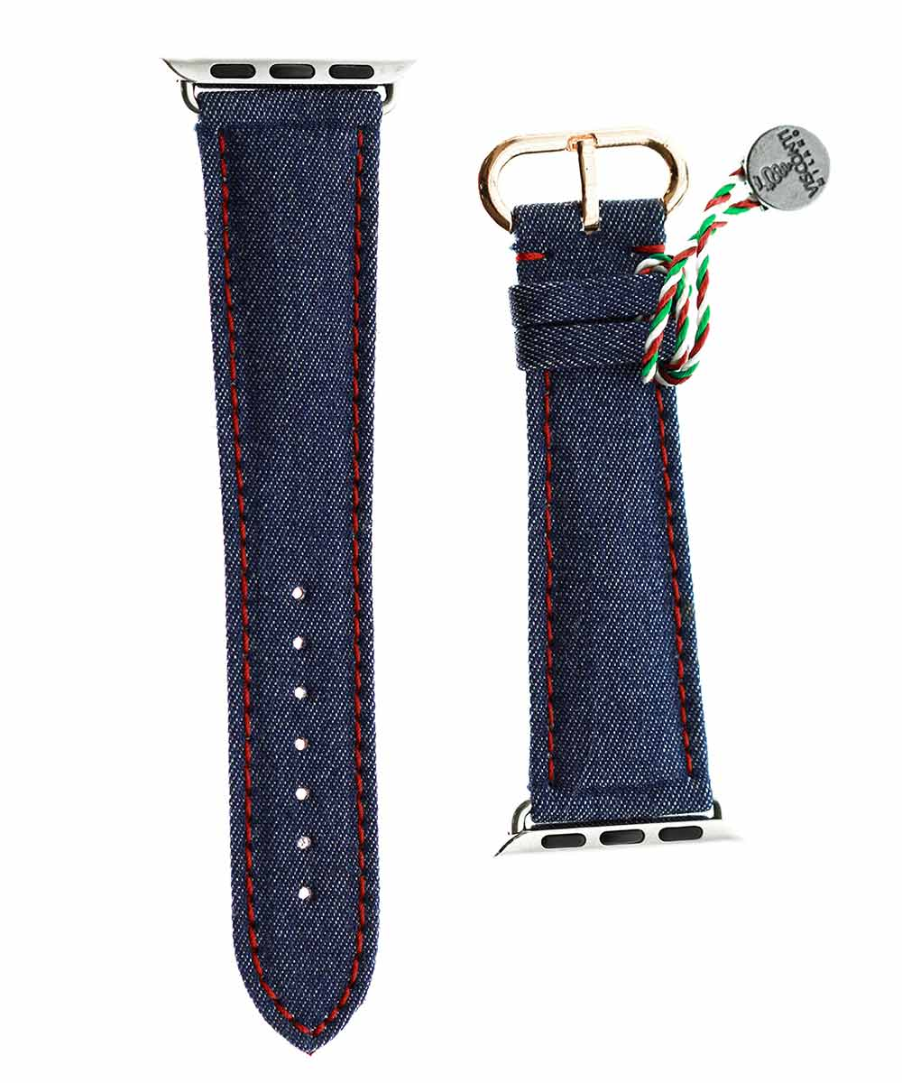 Blue Denim strap with Ruby Red stitching & Alcantara® lining for 38mm case (Apple Watch Series 1, 2 & 3)