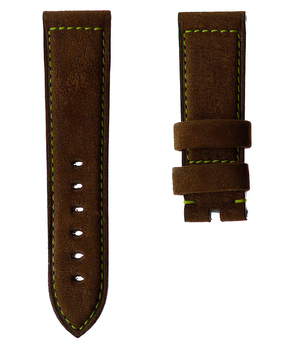Cigar Antilope Kudu Leather strap 24mm for Panerai. Natural Cork lining