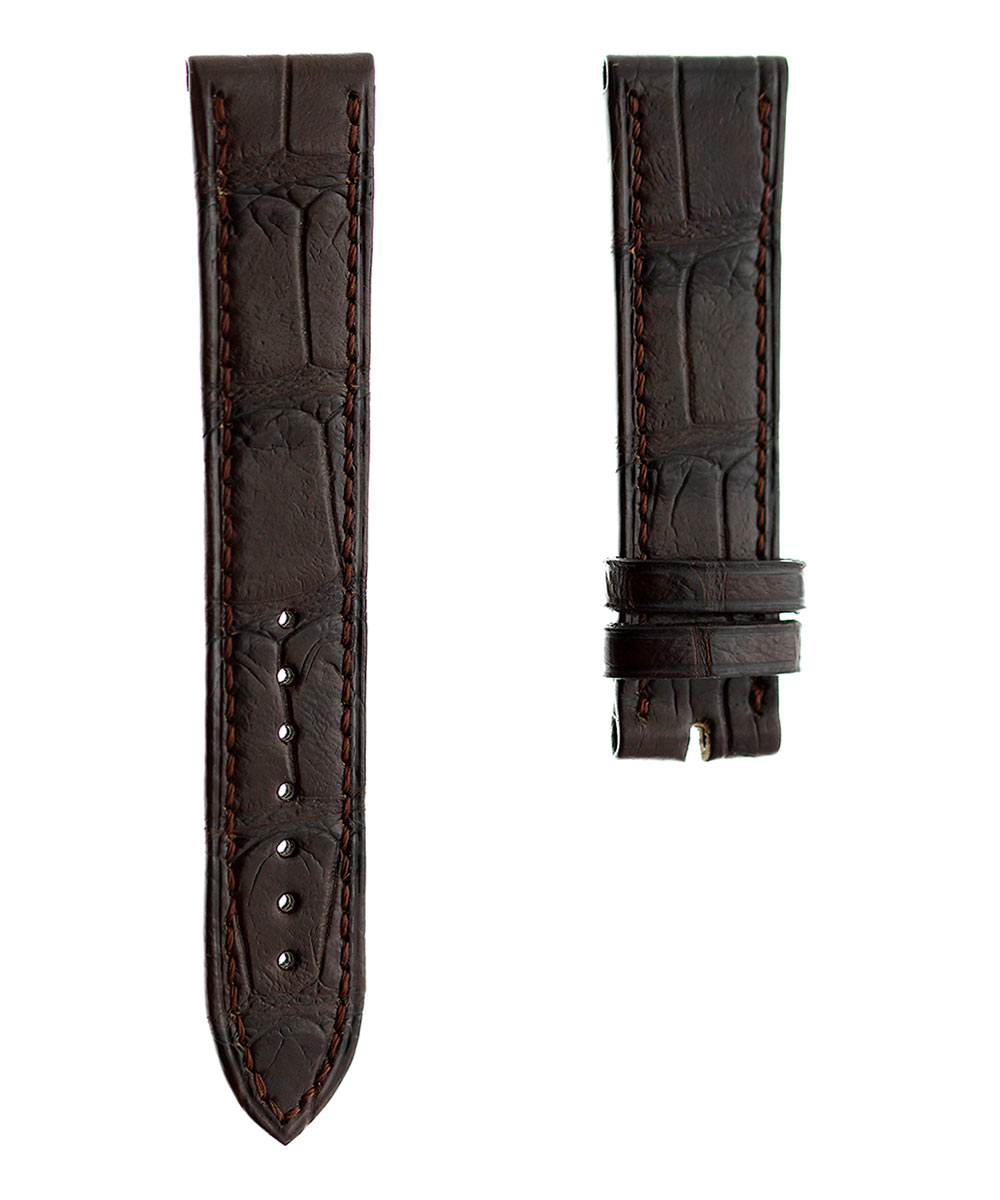 By Order. Brown Alligator leather strap 20mm Folded Edges Hand Stitched