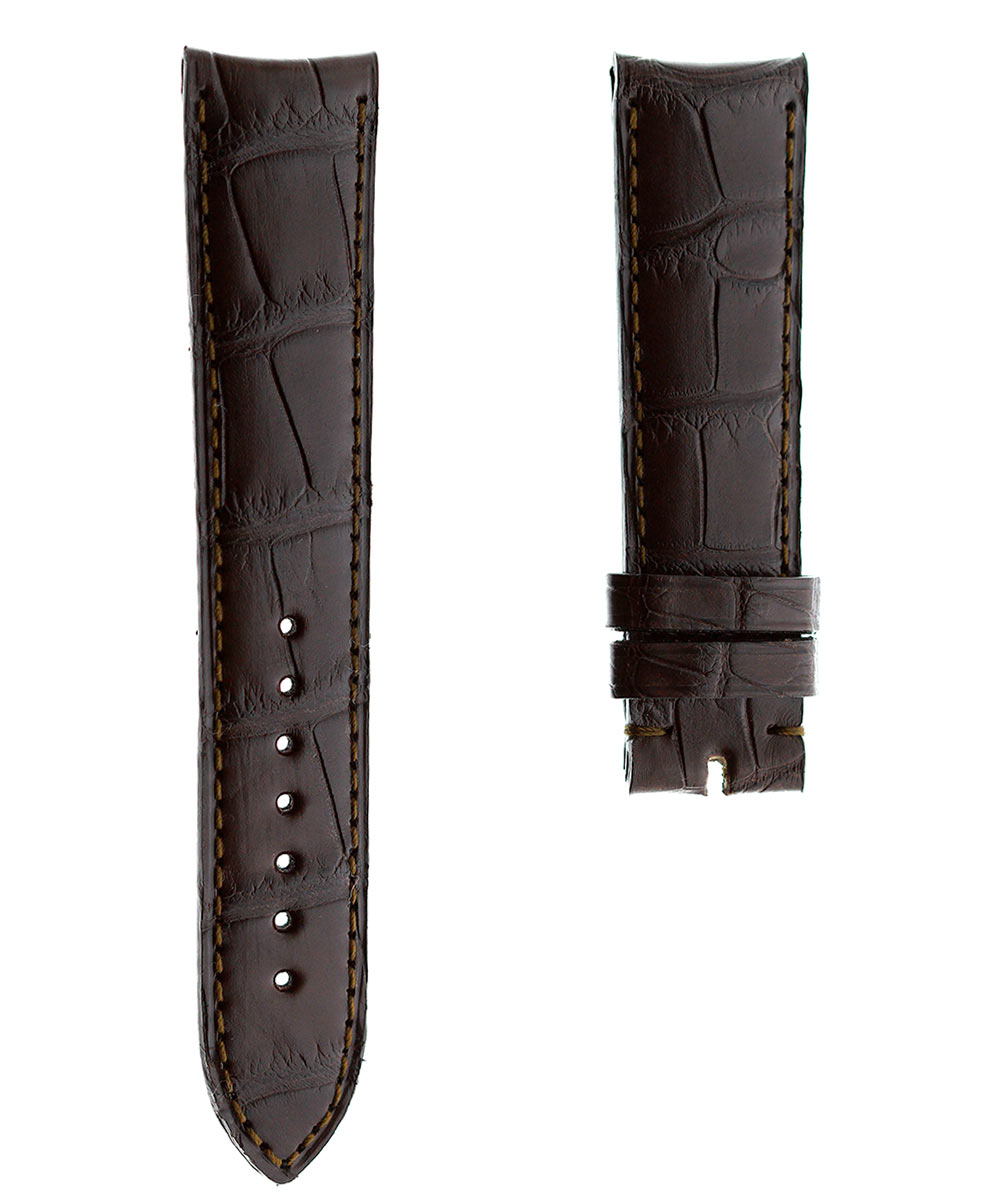 Brown Alligator leather strap 20mm Jaeger LeCoultre Ultra Moon Style. Curved lugs