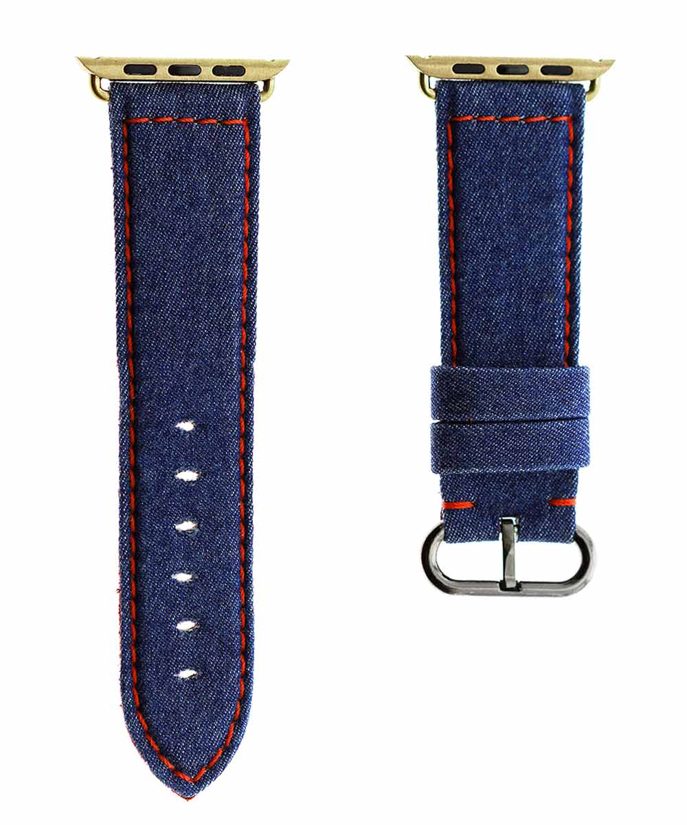 Blue Denim Strap for 44mm, 42mm case (Apple Watch All Generations) / Red Stitching
