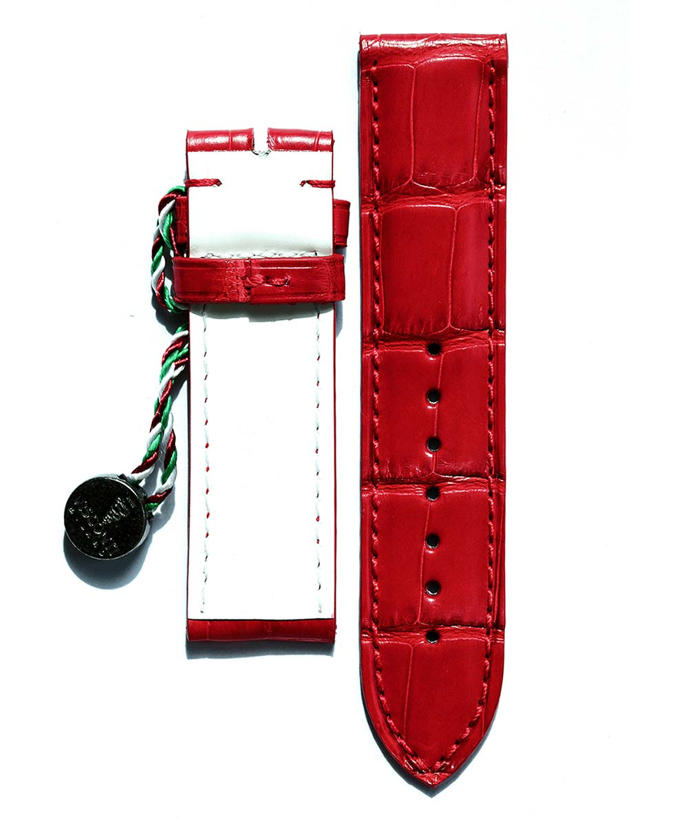 By Order. Bespoke Cartier Tank style watch strap 18.5mm in Red Alligator leather