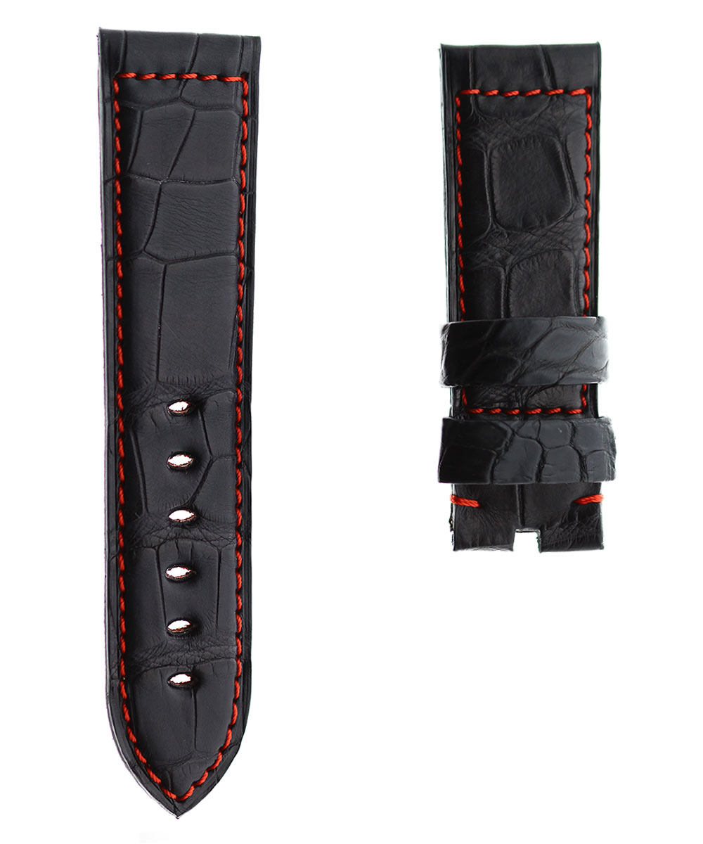 Black Alligator leather strap 24mm PANERAI style. Red Stitching