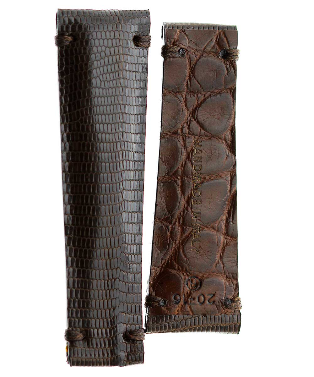 Exotic Original Brown Lizard leather strap 20mm for Rolex Daytona. Alligator lining