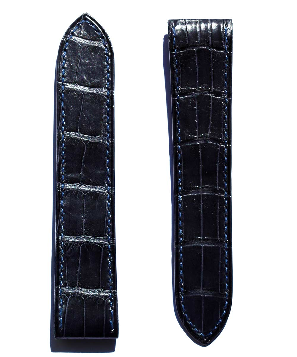Strap 23mm in Blue Matte Alligator Leather for Cartier Santos 100 XL