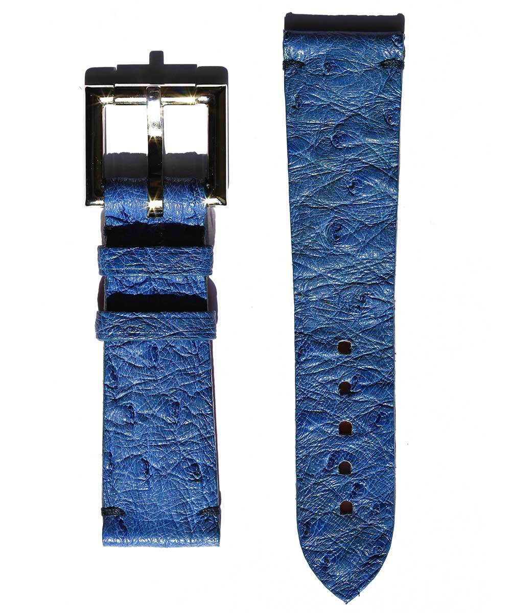 Blue Ostrich strap 24mm with Fixed Buckle