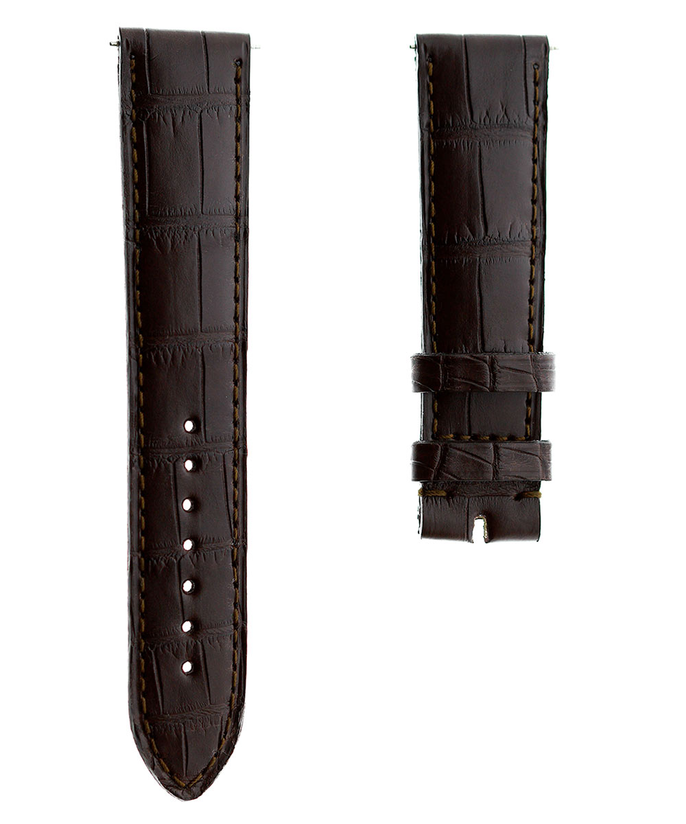 Brown Alligator leather strap 20mm Jaeger LeCoultre Regular Reverso style
