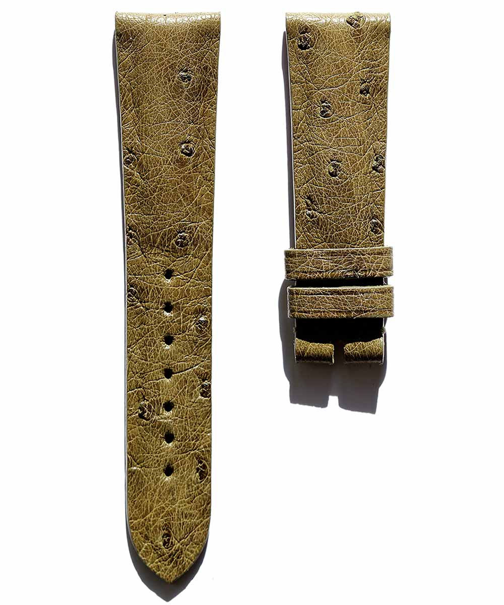 Green Camouflage Ostrich leather watch strap 20mm