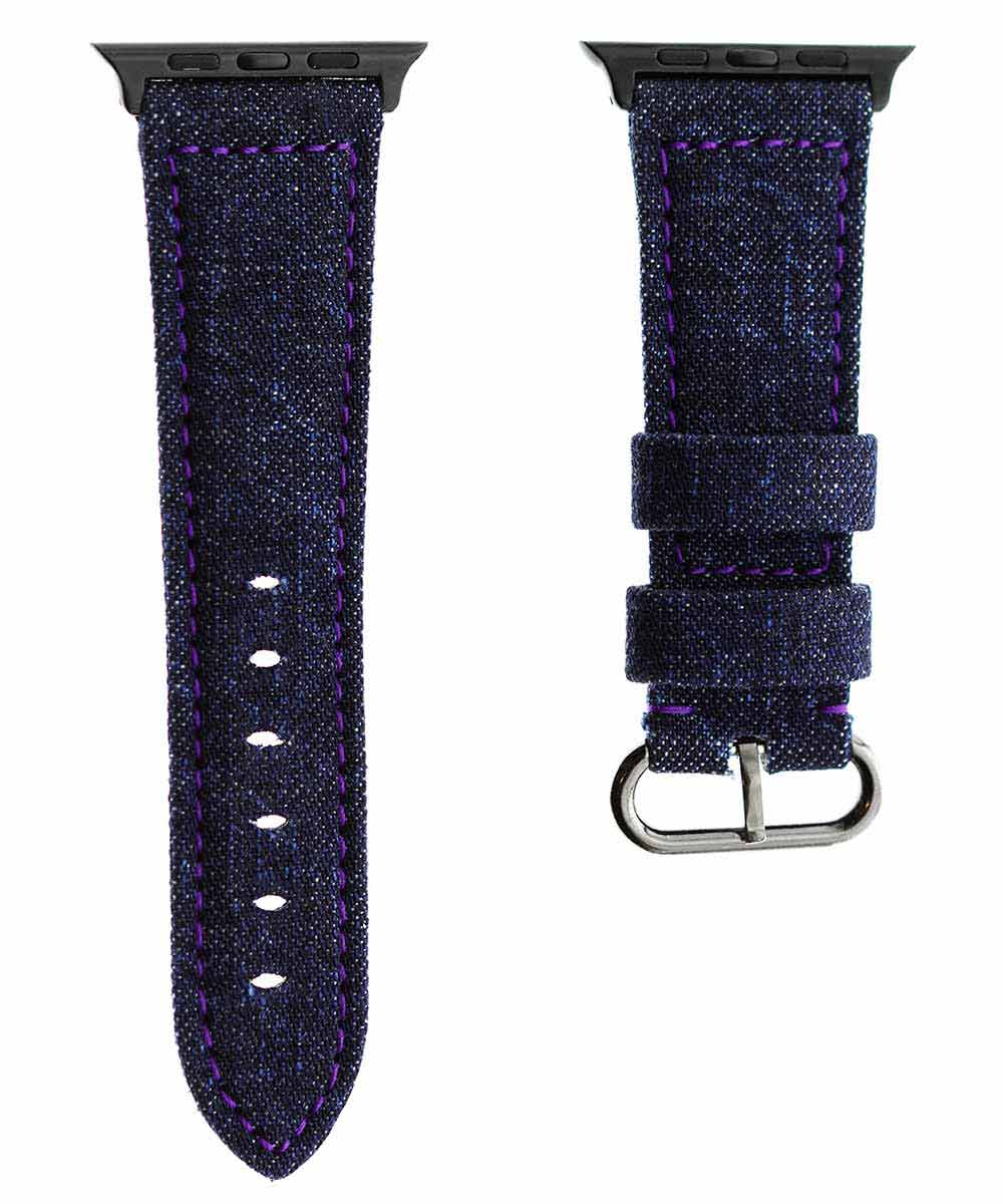 Japanese Denim Strap for 44mm, 42mm case (Apple Watch All Series) / COMMANDO / VIOLET STITCHING