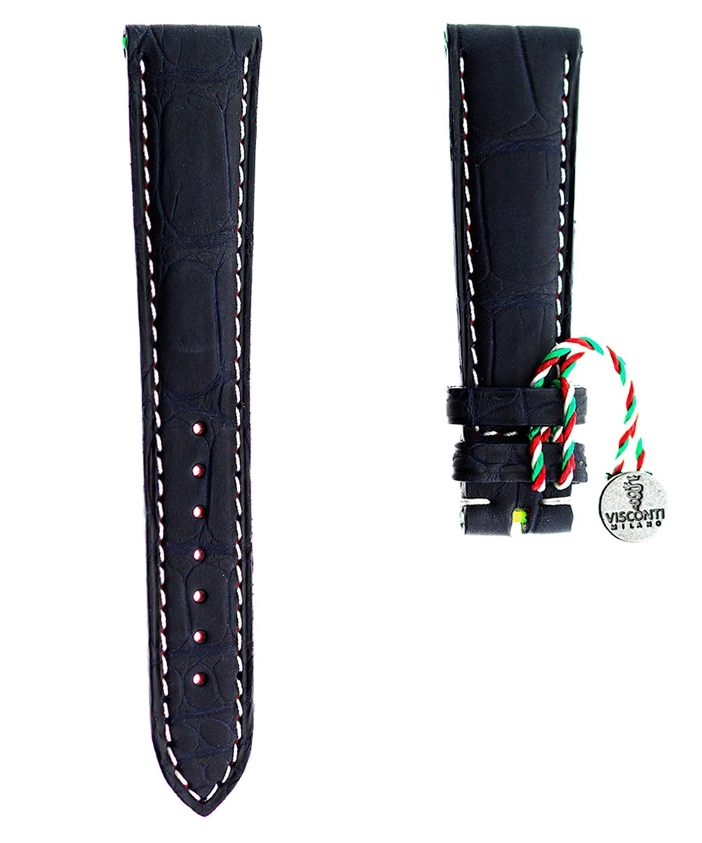 Blue Rubberized Alligator leather strap 20mm / White Stitching