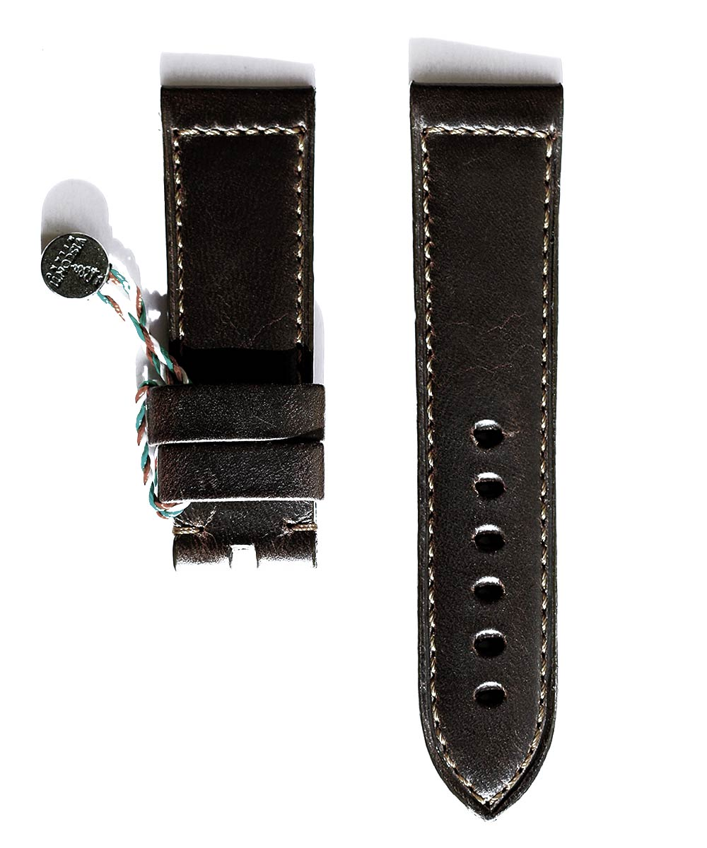 Panerai style 24mm strap in Chocolate Brown Calf leather