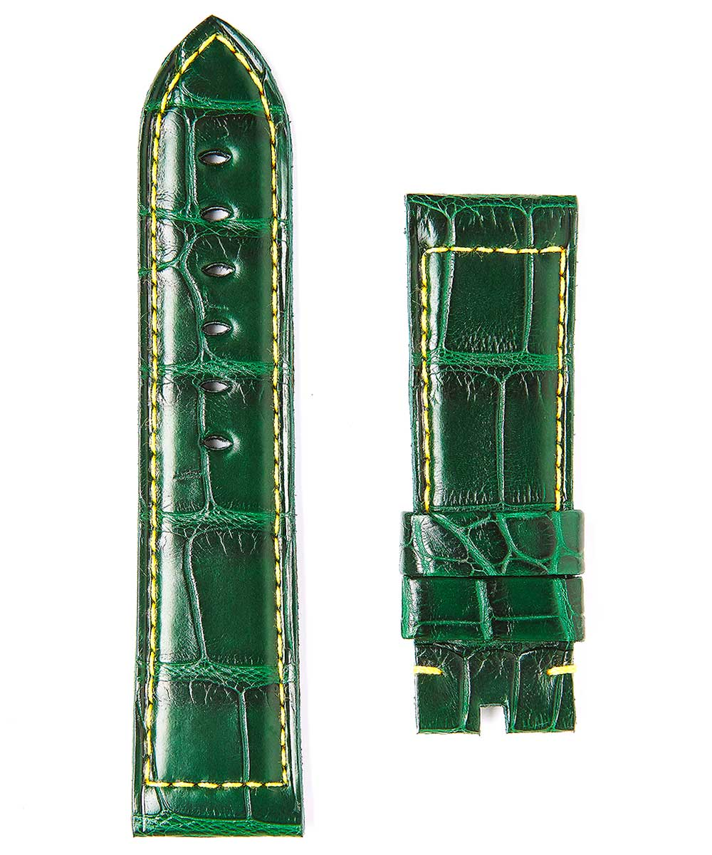 Green Alligator leather strap 24/22mm Panerai style