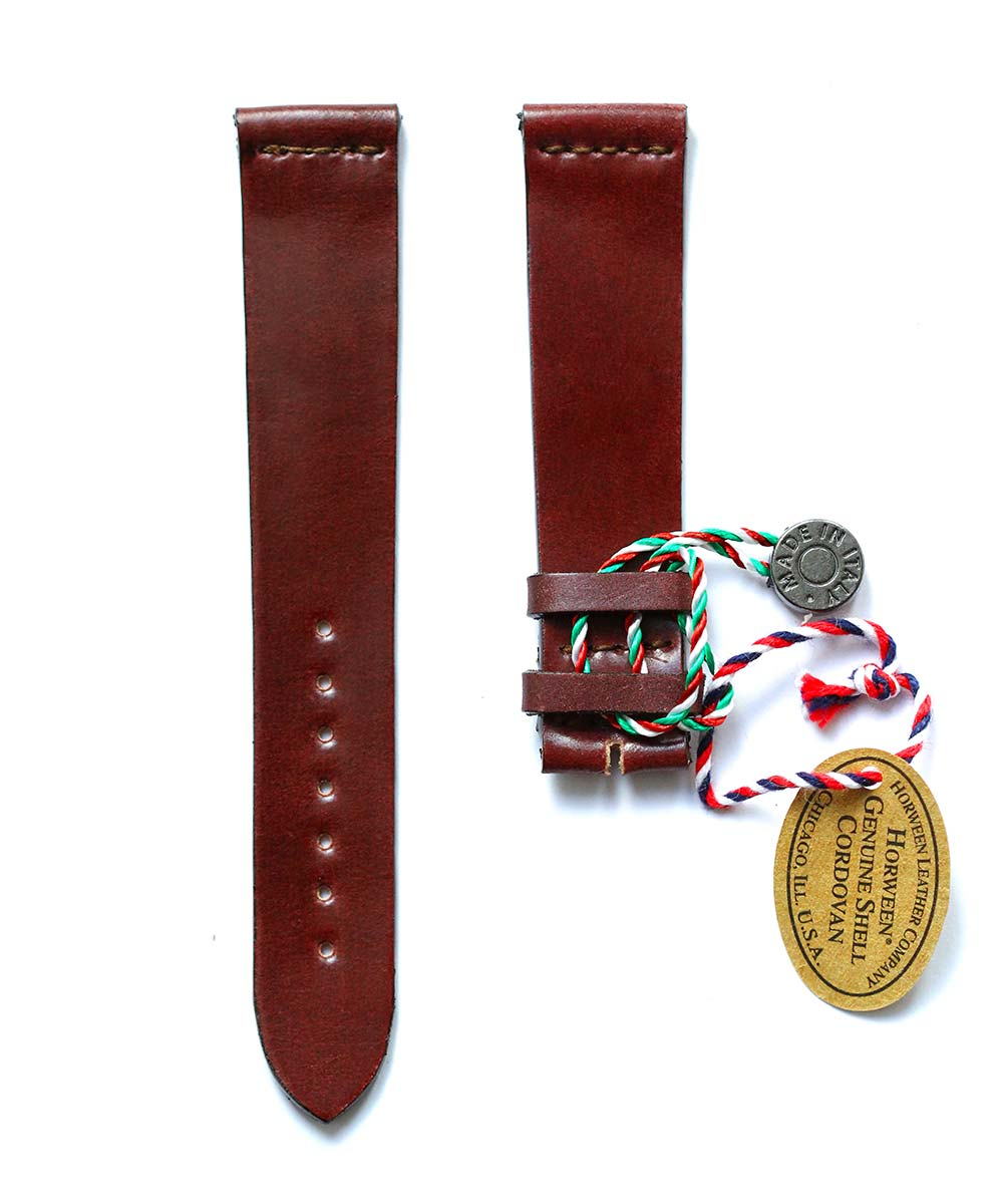Ultra slim Strap 18mm, 19mm in Burgundy Brown Shell Cordovan Leather