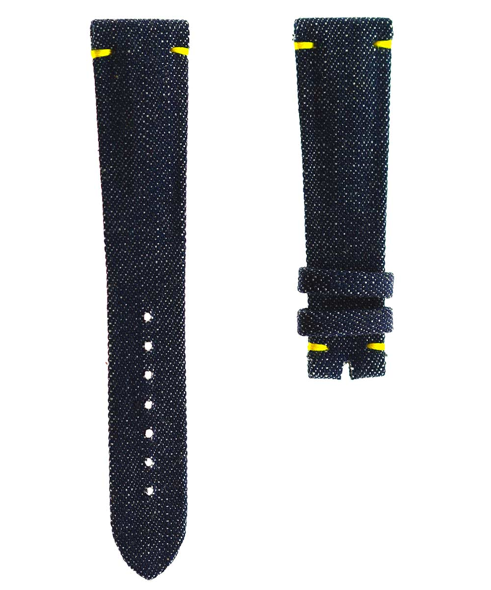 Japanese Denim Watch strap 20mm / Rocky / Yellow Stitching