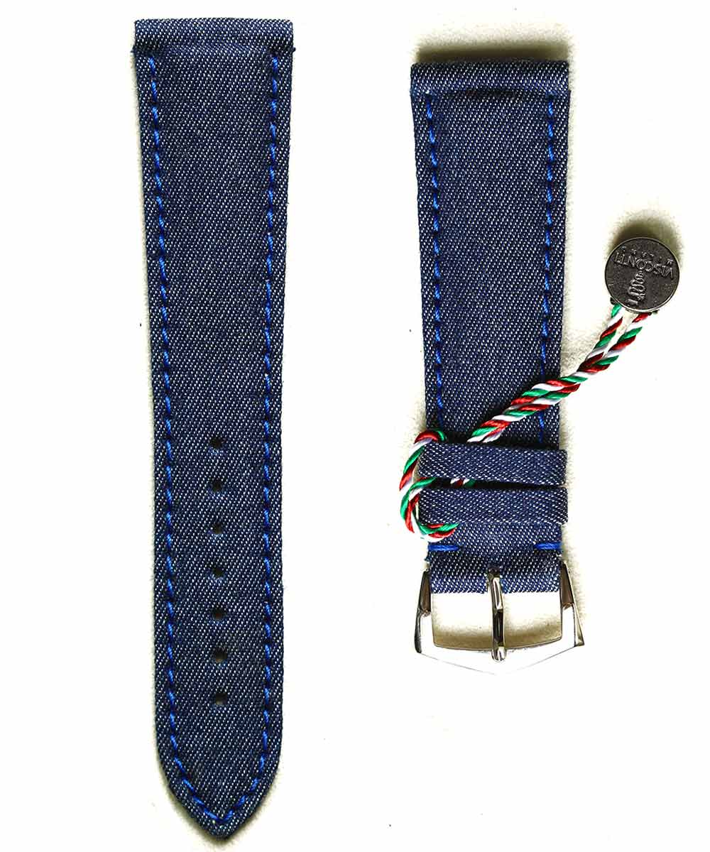 Denim strap General style 22mm / Blue Ocean Alcantara lining