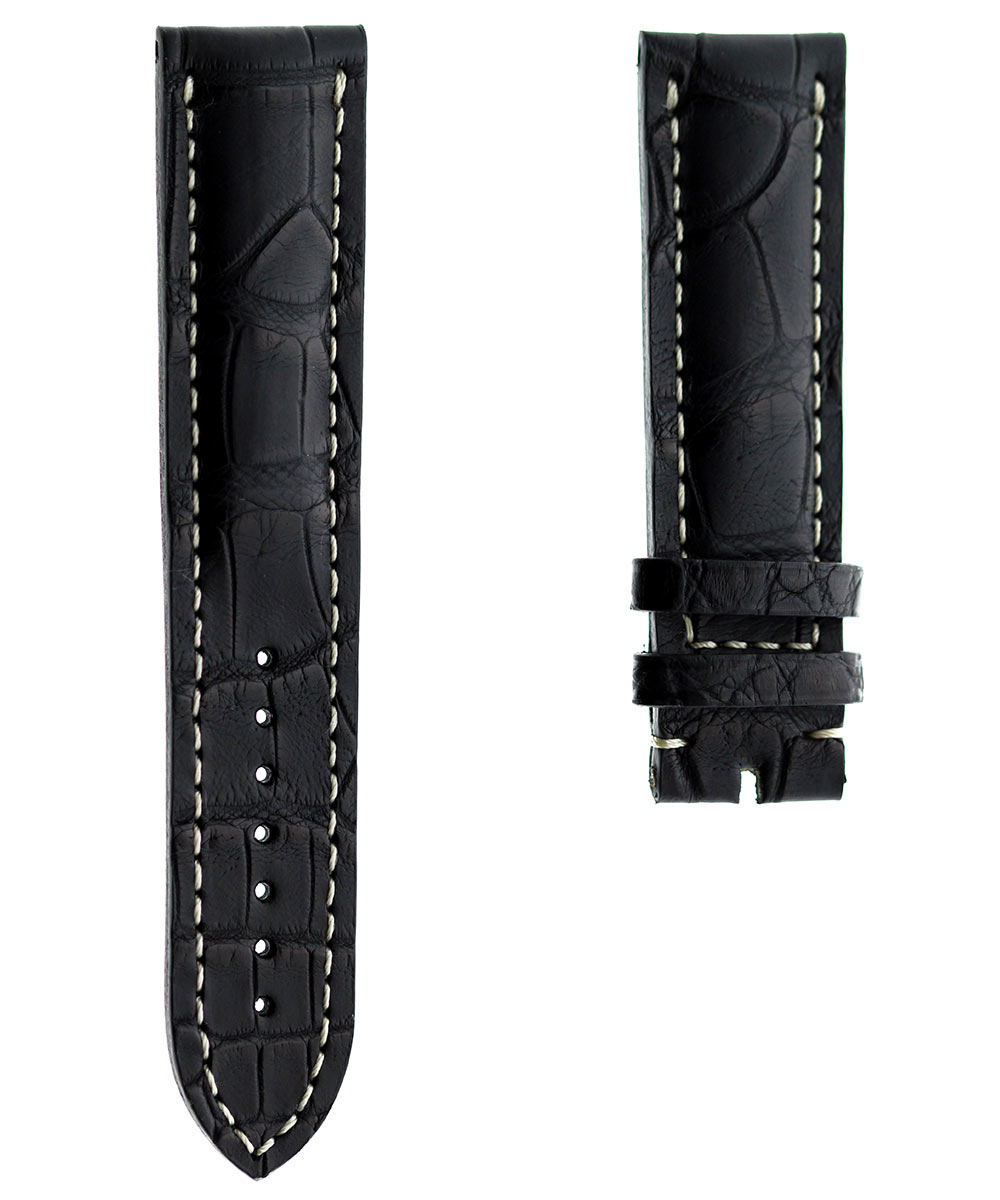 Black Alligator leather strap 22mm Breitling style. White Stitching