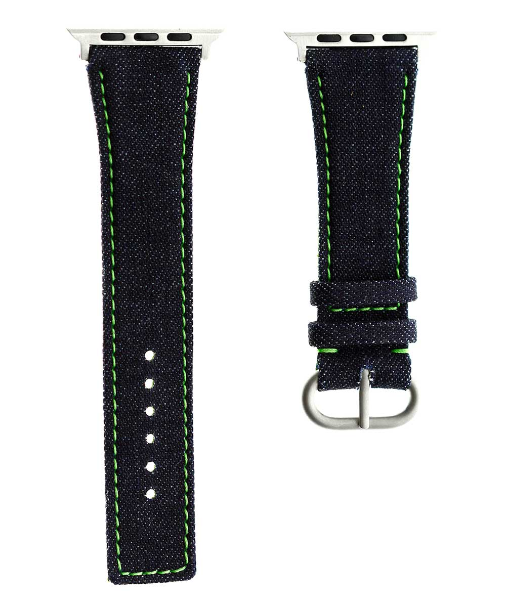 Japanese Denim Strap for 44mm, 42mm case (Apple Watch All Series) / TOKYO / GREEN STITCHING