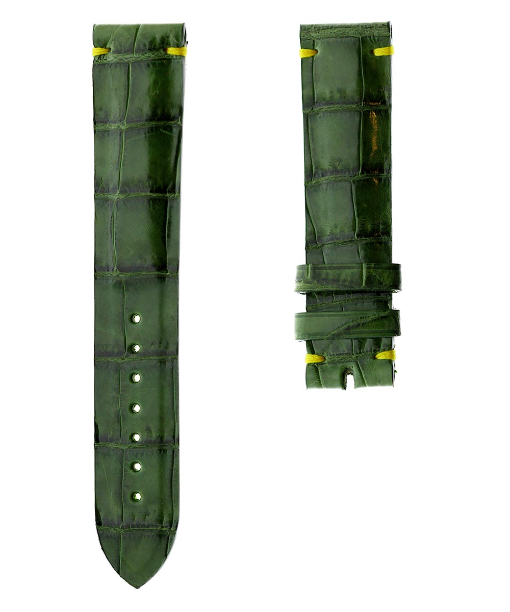 Ready-to-Wear 19mm Vintage Green Shiny Alligator leather strap / Yellow Presile Hand Stitching