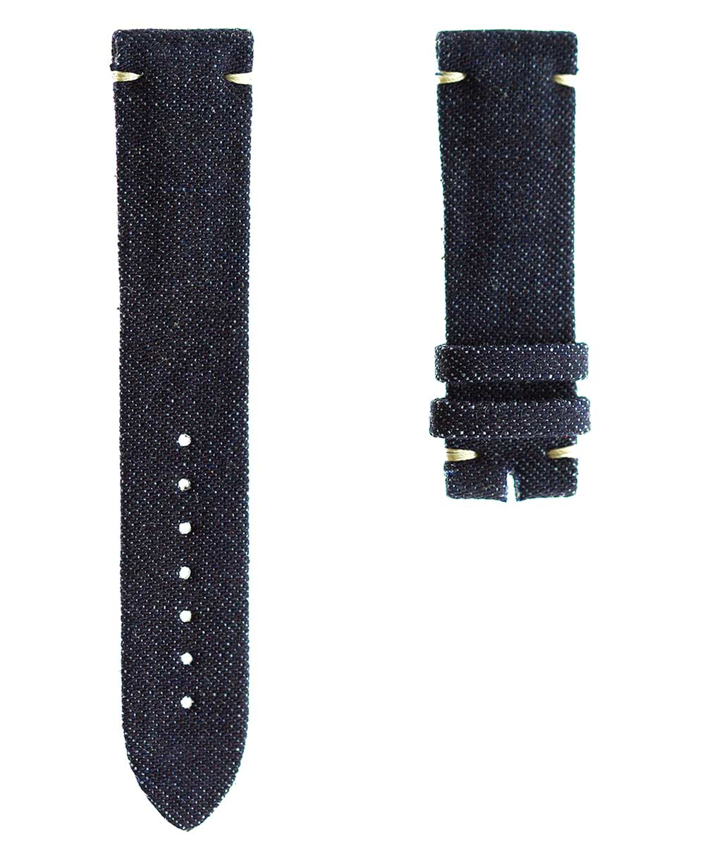 Japanese Denim Watch strap 19mm / TOKYO / Beige Stitching. Small Wrist