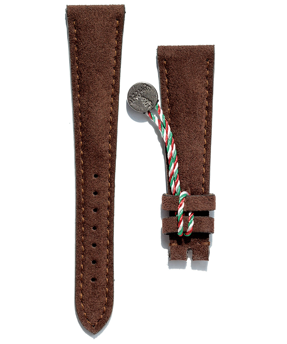 Watch strap in Chocolate Brown Alcantara 20mm, 21mm, 22mm